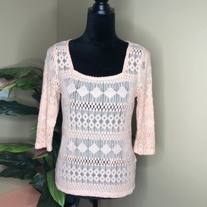 Like New Lucky Brand Sheer Pink Top